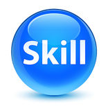 Skill glassy cyan blue round button Stock Image