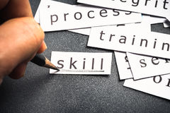 Skill. Hand underline on Skill word in piece of paper Stock Photos