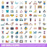 100 skill icons set, cartoon style. 100 skill icons set. Cartoon illustration of 100 skill vector icons isolated on white background Royalty Free Stock Photos