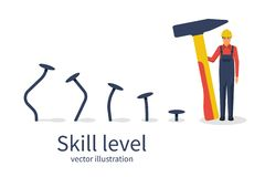 Skill level concept. Man holding a hammer in hand hammer nails, training. From beginner to skilled expert.Symbol of successful training and persistence.Vector royalty free illustration