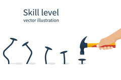 Skill level concept. Man holding a hammer in hand hammer nails, training skill. From beginner to skilled expert. Symbol of successful training and persistence stock illustration