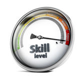 Skill level. Meter representing between beginner and expert s vector illustration