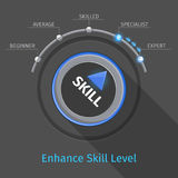 Skill levels vector knob button or switch Stock Photo