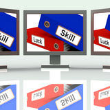 Skill And Luck Folders Show Expertise Or Chance Stock Image