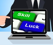 Skill And Luck Keys Displays Strategy Or Chance Stock Images