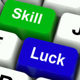 Skill And Luck Keys Mean Strategy Or Chance Stock Image