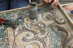 Skill mosaic. Tools drawings and sketches for paintings tessellation Stock Images