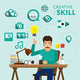Skill people. Type of digital marketing show skill icon for Creative.Vector Illustrate royalty free illustration