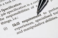 Skill requirement Stock Images