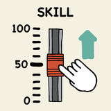 Skill scale. Illustration of cartoon hand push the switch skill Stock Photo
