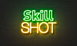 Skill shot neon sign on brick wall background. Stock Photography