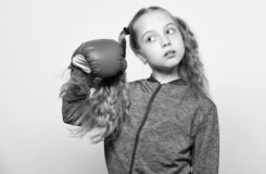Skill of successful leader. Girl cute child with red gloves posing on white background. Sport upbringing for leader stock images
