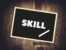 Skill word on blackboard. With chalk Royalty Free Stock Photos