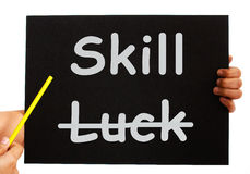 Skill Word On Board Shows Expertise Not Luck. Skill Word On Board Showing Expertise Not Luck vector illustration