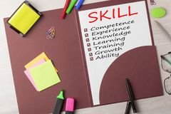 SKILL written on vertical sheet. SKILL,ability,growth,advanced,training,knowledge,learning,competence,experience written on a4 format vertical sheet with marker Royalty Free Stock Images