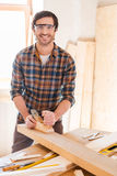 Skilled carpenter. Royalty Free Stock Images