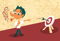 Skilled Guy, Easy Goal. Funny skilled office worker/manager showing abilities. EPS 8 royalty free illustration