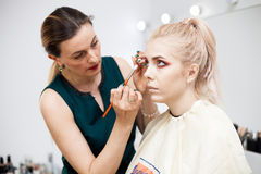 Skilled Make up artist in working process Royalty Free Stock Photo