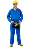 Skilled male plumber with toolkit Stock Images