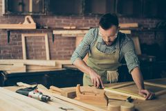 Skilled talented bearded busy confident bearded handyman clothed Stock Photography