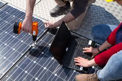 Fitting photovoltaic panels royalty free stock photos