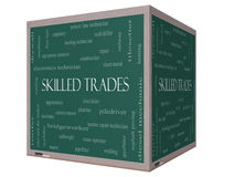 Skilled Trades Word Cloud Concept on a 3D cube Blackboard Stock Photos