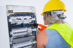 Skilled woman electrician Stock Photography