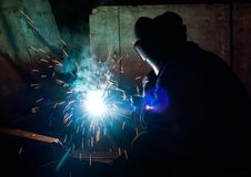 Skilled working factory welder Royalty Free Stock Image
