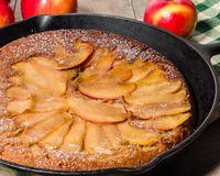Skillet apple cake with apples Royalty Free Stock Photography