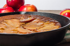 Skillet apple cake with apples Royalty Free Stock Image