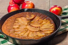 Skillet apple cake with apples Stock Photography