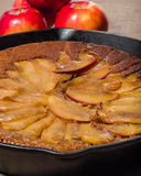Skillet apple cake with apples Royalty Free Stock Photo
