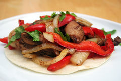 Skillet Chicken Fajita. On a White Plate Royalty Free Stock Photos