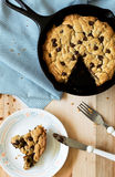 Skillet Cookie. Chocolate chip skillet cookie, sliced Royalty Free Stock Photography
