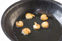Skillet fried shrimp Stock Images