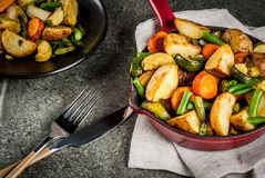Skillet-Roasted Fall and Winter Vegetables Stock Photography