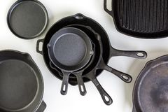 Skillet. Traditional cast iron skillet on a white background Royalty Free Stock Photography