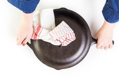 Skillet. Traditional cast iron skillet on a white background Royalty Free Stock Photos
