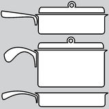 Skillets icons on a gray Stock Photos