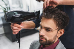Skillful barber drying male hair at barbershop Stock Image