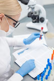 Skillful female researcher is working in lab Stock Image