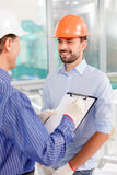 Skillful male architects are working on new Royalty Free Stock Photo