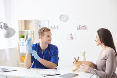 Skillful male veterinarian is seeing his patient. Beautiful young women is showing her small rabbit to the doctor. She is holding an animal and smiling. The men Royalty Free Stock Photos