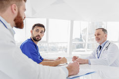 Skillful medical team gathering for council Royalty Free Stock Photography