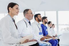 Skillful physicians are interested in new medical discovery Royalty Free Stock Images