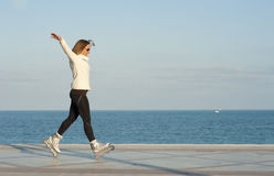 Skillful rollerblading Stock Photography