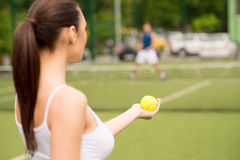 Skillful Tennis Players Competing Together Stock Image