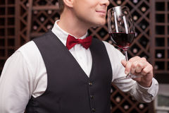 Skillful winehouse worker is examining elegant Royalty Free Stock Photos