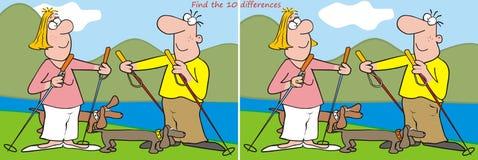 10 skillnader - fotvandrare vektor illustrationer