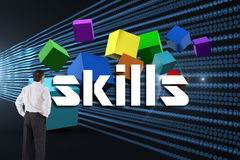 Skills against abstract shiny lines on black background Royalty Free Stock Image
